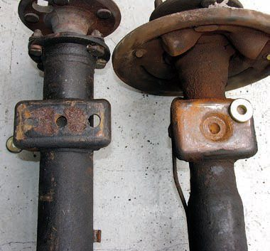 If you change the leaf springs and/ or the rear axle assembly make sure to use compatible parts that locate and retain the springs on the axle. Incompatible designs could result in the locating peg on the springs not reaching the corresponding hole on the axle mounting plate. When an axle assembly with a recessed locating hole is used special metal inserts such as these from Global West are likely to be needed. They simply drop in but can also be epoxied.