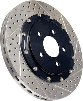 The initial step up from an OEM replacement rotor is something along the lines of the Baer DecelaRotor. It's made from a high-quality material that's plated for superior corrosion resistance. It's vented, drilled, and slotted with the hole design and locations optimized to reduce the possibility of cracking while also maximizing the ability to evacuate the gases produced during hard braking. Such designs provide better initial bite and more even pad wear compared to unslotted OEM rotors. (Photo Courtesy Baer Racing)