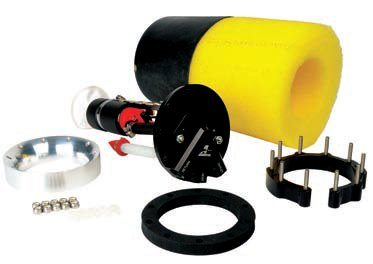 Aeromotive's Phantom Fuel System effectively converts a stock fuel tank to EFI, or to a higher-volume in-tank pump (with better fuel pickup) for a carbureted engine. Cut a hole in the top of the tank with a 6- to 12-inch depth, trim a few pieces to fit, install the baffling/foam into the tank along with the lower retaining ring, and then install the pump and mounting bracket assembly into the tank and on top of the foam sealing ring. The result is a quiet, high-volume pump that runs cool, keeps the fuel cooler, and doesn't run dry even in very extreme maneuvers. (Photo Courtesy Aeromotive)