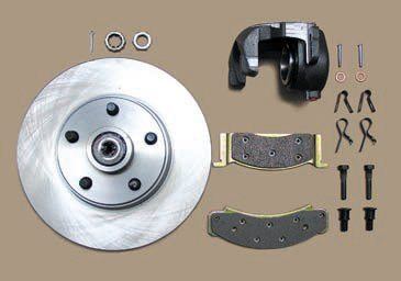 For a daily driver the OEM-style single-piston sliding calipers with an appropriate rotor are fine. New rotors and calipers provide a significant benefit over the original parts. This is even more true when converting from drums. Here you can see the difference in size between a front pad (bottom) and a typical rear pad for a disc-conversion kit (top). The rear rotors are smaller.