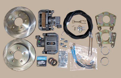 This Currie rear-disc conversion kit is a perfect solution for upgrading a daily driver with stock drum brakes. Everything you need, including new axle seals, parking brake cables, and the correct centering rings, is included. The calipers are OEM Ford parts and come loaded with pads suited for street use. The cost is reasonable and installation is pretty straightforward.