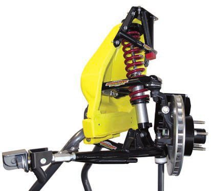 With this Global West complete coil-over conversion system, the OEM spring/shock setup is replaced by a coil-over setup, which mounts to the revised lower control arm to better direct/distribute the spring forces. This geometry is inherently superior to the OEM design for a number of reasons yet the same basic control arms and strut rods can be used. An adapter is added to the lower arm to accept the bottom mount of the coil-over unit. The upper arms are modified to allow the coilover to pass through plus there is a special mounting scheme for the coilover to the shock tower.