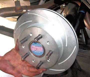 The SSBC kit includes largerdiameter, thicker rotors to handle more extreme use than an OEM-level conversion kit. The upgraded rotors have more thermal mass so they're able to absorb more heat energy. Also, their enhanced internal cooling vanes help dissipate the heat more quickly. This allows SSBC to use a more-aggressive pad compound, which then provides more braking power with a smaller, lighter rotor.