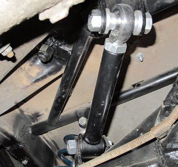 The installation of the upper links is by far the most difficult aspect of installing this suspension. The reason is the tabs to be welded to the axle housing must be precisely located to ensure the axle is properly located in all directions. These tabs are critical for setting proper pinion angle. The upper links are adjustable in length to allow the proper setting to be reached but this may not be possible if the tabs are not located properly. If the cradle and axle tabs are properly placed the length of the upper links should be nearly identical. Be sure to paint all welds.