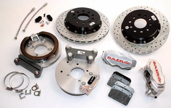 "The 13-inch rotors are the maximum for this setup. They incorporate the effective ""drum-in-hat"" parking brake. The four-piston fixed calipers feature stainless steel pistons and hardware along with dual DOT-compliant seals and the same color options as the front. Many older Mustangs don't need this much capability. (Photo Courtesy Baer Racing)"