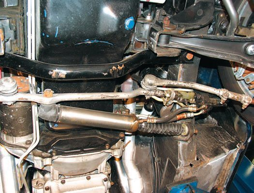 A very effective and reasonably priced way to dramatically improve steering performance is to replace it with a more contemporary system such as this one from Borgeson (left). It has far fewer system components. More importantly, the integration of the power assist directly into the steering box greatly improves steering feel and response. Weight and the number of potential leaks are also reduced plus additional header clearance is provided. This setup is absolutely the minimum that should be considered for any kind of performance driving and even for strip use if you're drag racing.