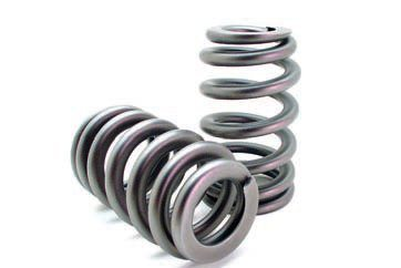 Beehive springs provide better valve control at a reduced weight when compared to standard springs. In addition, these springs are less susceptible to harmful harmonics. The oval-shaped wire allows a shorter spring height for a given pressure rating while the tapered profile and smaller retainer reduce mass to allow higher RPM use. This type of spring is commonly used on production engines and race engines. (Photo Courtesy Crane Cams)