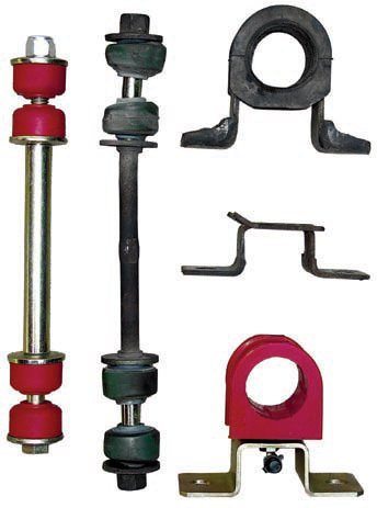 A simple, inexpensive upgrade is to replace the OEM anti-sway bar bushings and links with polyurethane-based parts such as these from Energy Suspension. They reduce the amount of body roll and improve the overall response of the suspension. They do, however, require periodic lubrication to prevent noise.