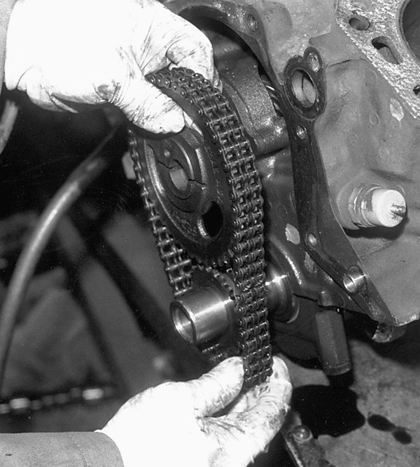 Remove the water pump and timing cover, then the timing set.