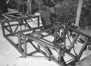 If you are one of those guys who want the ultimate in strength for racing and street driving, you can build your own chassis like Preston Peterson did. There's more information about this frame's '67 Mustang within this book. The frame is shown before the top half was constructed. (Photo courtesy Preston Peterson)