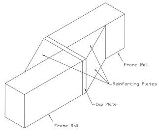 This illustration shows the method for narrowing rear frame rails. The frame is cut, a cap plate is welded into place, the frame is welded the desired distance inward, and then reinforcing plates are added for strength. (Illustration courtesy Vince Asaro)