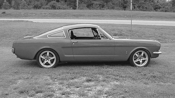 This Mustang built by Don Rositch of Mustang Don's looks great with late-model Cobrastyle wheels. The factory backspacing can sometimes create difficulty when you are trying to adapt them to early model cars. Sometimes you can get away with using billet wheel adapters to space the wheel correctly. (Photo Courtesy Mustang Don's)