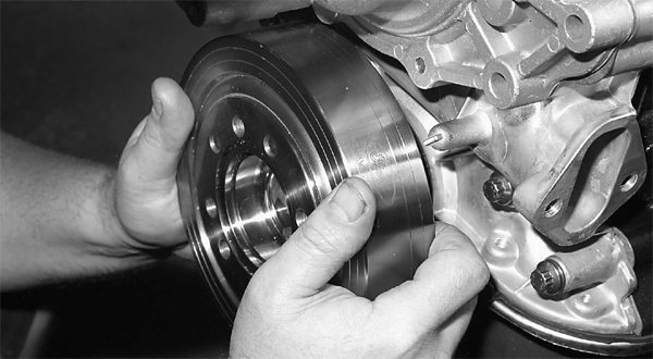 The crowning touch is a harmonic balancer from Ford Racing Performance Parts. One issue with this balancer, and some others, is its weight. Excessive weight with some aftermarket balancers can actually break the crankshaft. Do your homework before purchasing an aftermarket balancer.