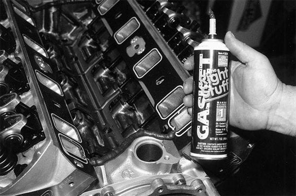 The Right Stuff from Permatex is an outstanding gasket sealer and substitute. Along the intake manifold support rails fore and aft is one favored location for The Right Stuff.