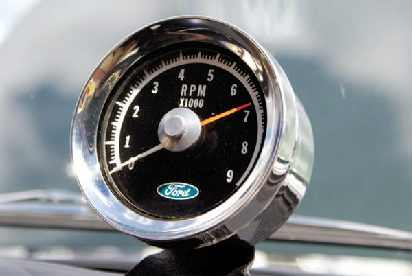 If the Ford Rotunda accessory tachometer bore a striking resemblance to the Cobra tach, that's because the Cobra unit is a rebadged Ford tachometer. Originally, both the Ford accessory tach (manufactured by Faria) and a similar Stewart-Warner unit were under consideration for use in the 1966 GT350; ultimately the Ford/Faria unit was chosen.