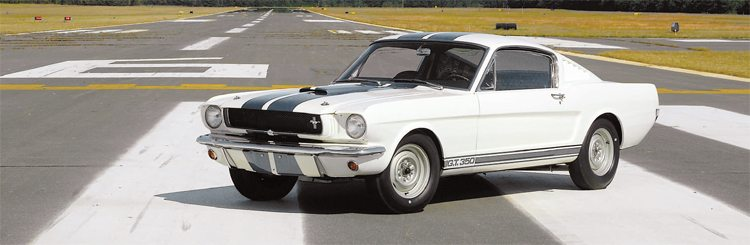 """Most of the 1965 GT350s displayed at auto shows and media events were fully """"gussied-up"""" with Cragars and top stripes, but the 17th car built was displayed at the 1965 Chicago Auto Show wearing the standard painted steel wheels. (Photo Courtesy Ralph Pampena)"""