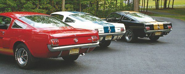 """This trio of """"rent-a-racer"""" tails tells the tale of corporate indecision on the part of Hertz and vehicle unavailability on the part of Shelby American that led to a multi-colored fleet of rental Shelbys. The cars lacking top stripes were courtesy of Hertz's mind-changing while the white, blue-striped cars (a dozen and a half were shipped this way) were thanks to Shelby's (and Ford's) inability to process cars fast enough to fill the Hertz order"""