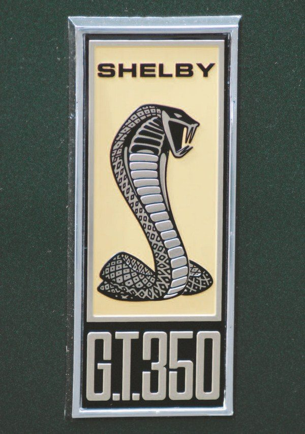 """A totally new Cobra snake logo was designed for the 1967 Shelby. It had more """"dimension"""" than the earlier flat Cobra logo and was a more realistic representation of a coiled cobra, ready to strike. Carroll Shelby didn't approve of the first edition of the new badge, which was flat with no depth. Shortly thereafter, the badge was retooled to give some relief to the snake but it still wasn't enough; 1968 fixed that. The same badge was used on GT350 and GT500 cars with the lettering being the only difference between the two versions."""