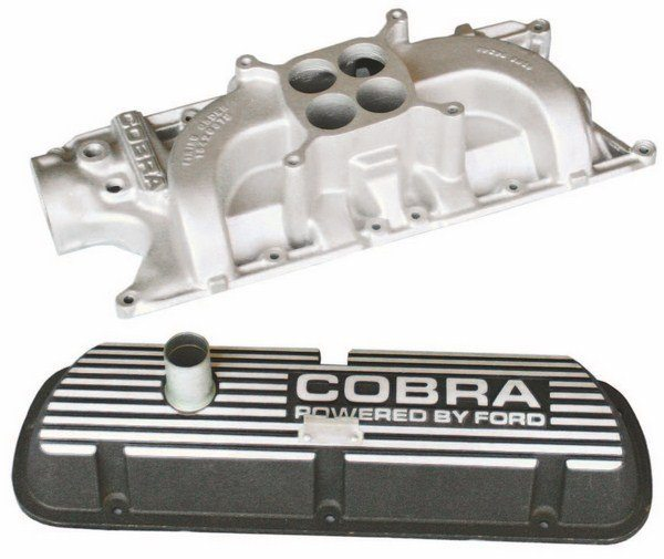 There was less engine aluminum under the hood of the 1967 GT350 than in 1966. The same aluminum intake and black die-cast valve covers as used on the 1966 Shelby were present on the 1967 engines. Both the 1967 GT350 and GT500 retained their standard Ford stamped-steel oil pans. (Photo Courtesy Jesse Bourdeau)