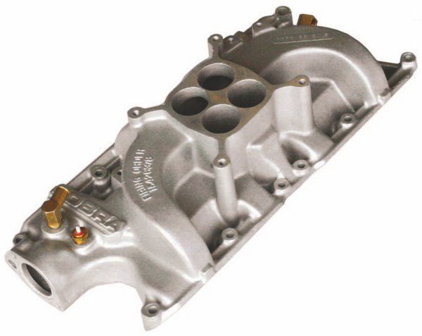 """Later on in 1967 GT350 production, a COBRA intake with a revised part numbering scheme (""""S7MS"""" to denote 1967) replaced the older S2MS intake, which was used on early 1967 cars. There were two styles of S7MS intakes, and the ones with the part number encircled by a raised oval likely came later. (Photo Courtesy Jesse Bourdeau)"""