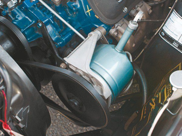 At first glance, the power steering pump and pulley appeared to be standard Mustang components, but appearances are deceiving; both are unique parts. The pump, while otherwise identical to the Mustang unit, is actually a 1967 Galaxie (and also Ford truck) pump (chosen because of the angle of the low pressure fluid port to facilitate hose routing to the fluid cooler). The GT350's high-revving HiPo 289 necessitated a large pump pulley to avoid over-speeding the pump so the largest available was chosen, coming from a 1967 Galaxie Police Interceptor with a single sheave alternator and built before December 15, 1966.