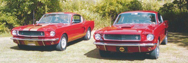 What appears to be two rare red GT350Hs is actually a case of one real deal and one poseur. The stripeless GT350H is a genuine red car, one of around 50. And while the striped car is a legit Shelby, it is actually one of almost 750 black Hertz cars repainted in the much rarer Candy Apple Red.