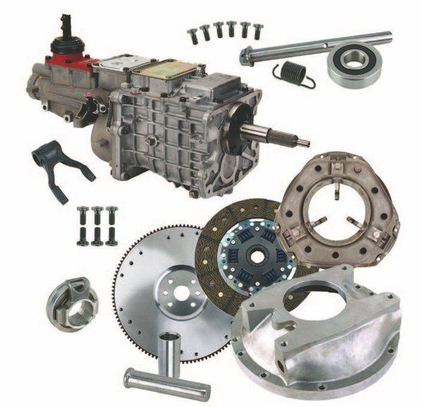 This complete kit from Speedway is designed to adapt the versatile Tremec TKO-500 transmission to your 1949– 1953 Ford fl athead engine. The fi fth gear offers .68 overdrive for smooth highway cruising. The OEM 3-inch bellhousing needed to accommodate this kit is not included and is not available from Speedway. (Photo Courtesy Speedway Motors)