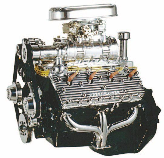 Roadrunner Engineering offers supercharger kits. Based on Weiand/Holley 142 or 174 Roots-type superchargers, the 1949–1953 kits (shown) use serpentine belts and the 1938–1948 Nostalgia kits use V-belts. (Photo Courtesy Roadrunner Engineering)