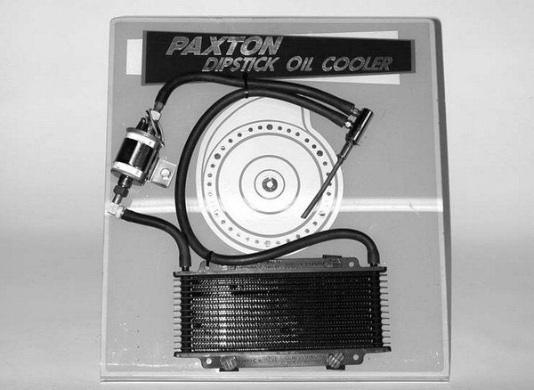 Internal heat buildup has always been a problem with Paxton's SN Series reciprocating ball-drive superchargers. Paxton's answer was the dipstick oil cooler, designed to recirculate the fluids through a small heat-exchanger radiator. The unit was reportedly capable of dropping oil temperatures by 150 degrees F.