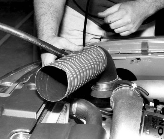 18. The flex hose running from the new MAF assembly to the secondary intake tube is installed next.