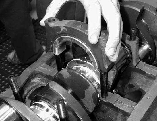15. The thrust bearing is installed, which was lapped in to achieve an optimum thrust bearing side-to-side clearance of 0.005 inch.