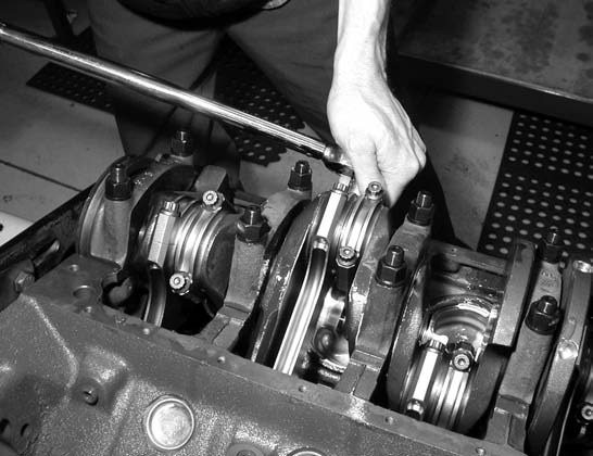 """20. Our 408's 7⁄16-inch ARP-equipped connecting rods are torqued starting from the center-out, torquing them to 70 ft-lbs using ARP's special moly """"lube in a tube."""""""