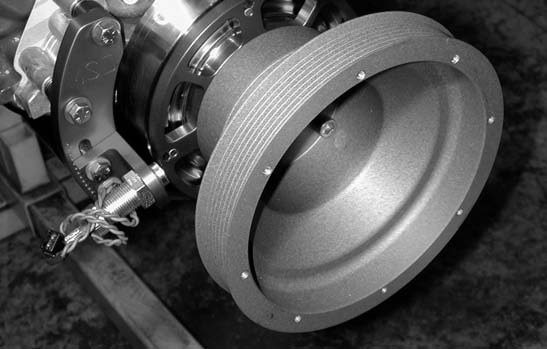 37. The next step is to test-fit the MSD magnetic crank trigger wheel to the FRT stainless-steel harmonic engine balancer using the provided spacer.
