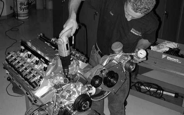 """48. A drill motor is used to run up the oil pressure. Our 408's """"blood pressure"""" checks in at a very healthy 68 lbs."""