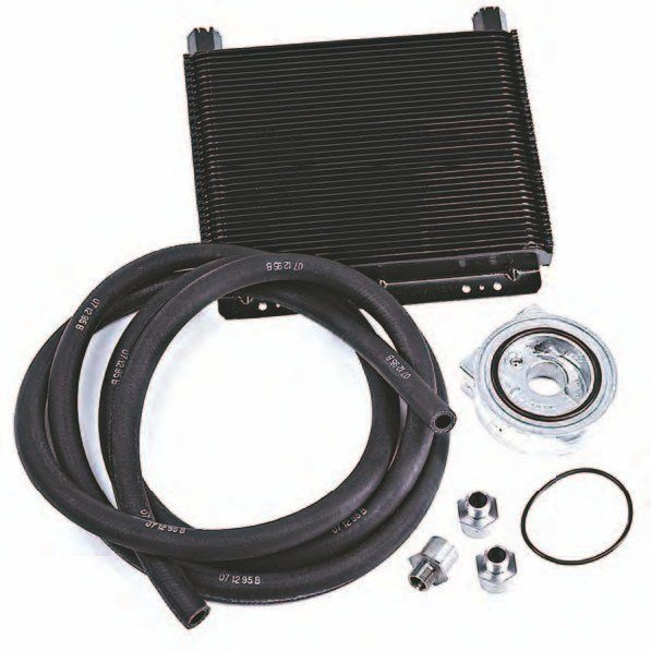 BOSS 302 oil cooler, M-6642-MB, from Ford Performance Racing Parts. This is an oil-to-water heat exchanger used on the 2012– 2013 BOSS 302 Mustang, which uses the BOSS 302's special lower radiator hose with its two quick-connect fittings to tie into the engine's cooling system. The BOSS 302 oil-to-water cooler is an easy bolt-on that can be adapted to your Coyote-equipped Mustang GT. (Photo Courtesy Ford Performance Racing Parts)