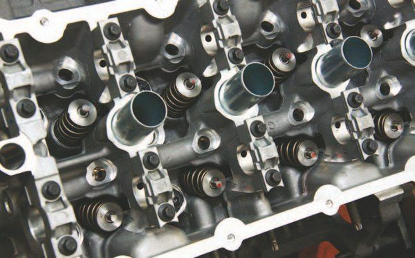 Another angle shows the tighter valve angle of the Coyote cylinder head, which was exactly what Ford engineers were going for to conceive a more compact cylinder head.