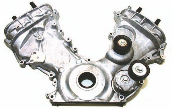 The Coyote's front timing cover has nothing in common with the 4.6L engine it replaces. It is not interchangeable.