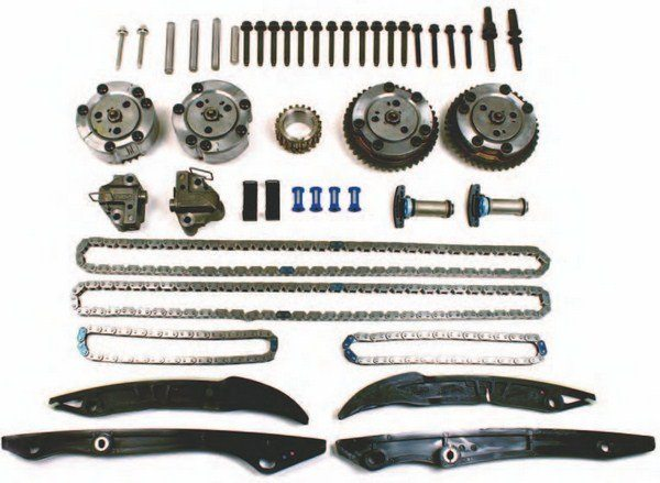 Ford Performance Racing Parts offers a complete timing system kit, M-6004-A504, for the Coyote, which makes your job as an engine builder easy. Everything you need to finish out a Coyote build is here, including timing chains, phasers/sprockets, chain guides, tensioners, crank sprocket, and all mounting hardware. (Photo Courtesy Ford Performance Parts)