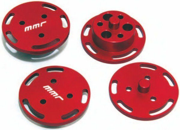 If you're building a 2011–2014 Coyote, you can lock-in cam timing with these MMR cam phaser delete plates. These Ti-VCT phaser deletes eliminate 274 grams on each exhaust cam and 330 grams on each intake cam, which means 1,208 grams or 2.6 lbs of rotational weight lost, plus allowing full adjustability of your Coyote camshafts.