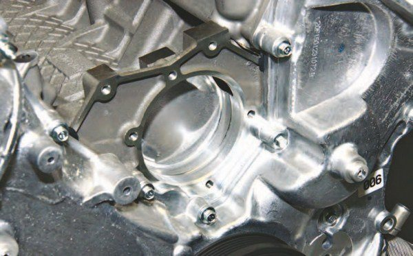 This is the water pump pocket at the front of the Coyote's aluminum block.